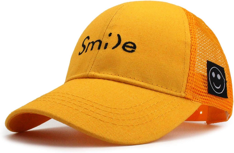 Children Smile Letter Embroidery Baseball Cap Mesh Boys Girls Kids Snapback Summer Tourism Sunshade Sun hat