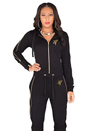 5c5a054c3 Poetic Justice Curvy Women's French Terry Gold Zip Cut-Out Wrap Tie Hoodie  Size S
