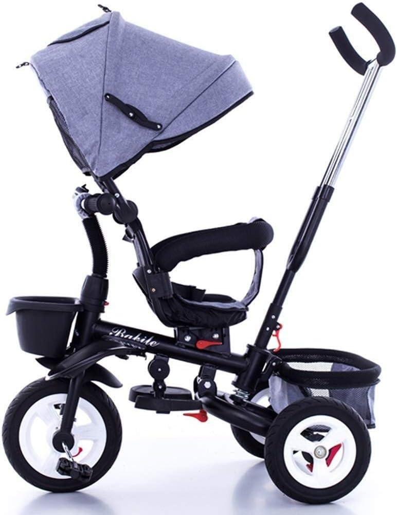 Yankuoo Sistema de viaje de bicicletas de luz de la bicicleta del triciclo Walker hijos de los hijos de la compra apto for 6 meses a 6 años (Color : Grey)