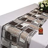 Parfair Dessin 13'' x 84'' Textured Fabric Geometric Table Runner For Parties Wedding Home decoration: Grey TRAB2-84