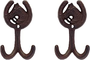 Rustic Heavy Duty Cast Iron Horse Shoe Wall Hooks, Set of 2, 5 Inch