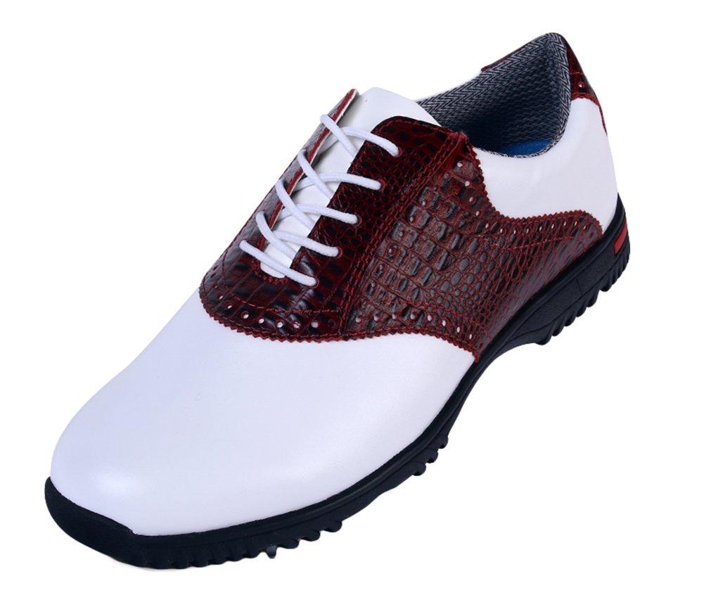 (ロモンス)Romons メンズ イングランド風 Golf ゴルフシューズ 鰐柄 防水 滑り止め スパイク B01HDEI6A6 27.0 cm レッド