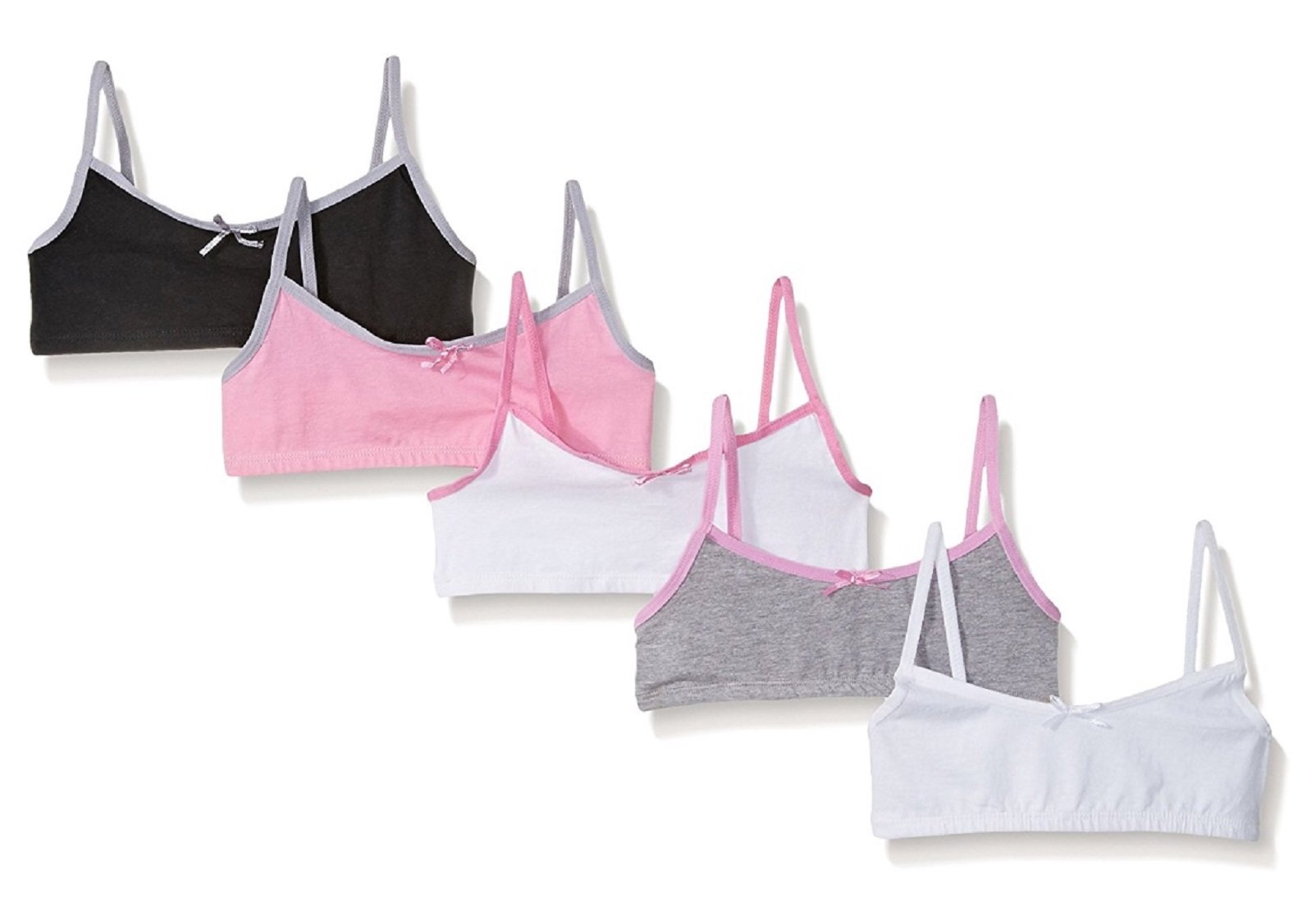 SWEET N SASSY Girls Pullover Style Bralettes 5 Pack Cotton and Spandex Crop Training Bra Sizes 30-34 (Color Trim Bralettes, Large 34)