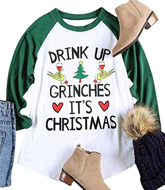 fbd38b107 Women Drink Up Grinches It's Christmas Shirt Plus Size Christmas Holiday  Cute Funny Baseball Top T Shirt at Amazon Women's Clothing store: