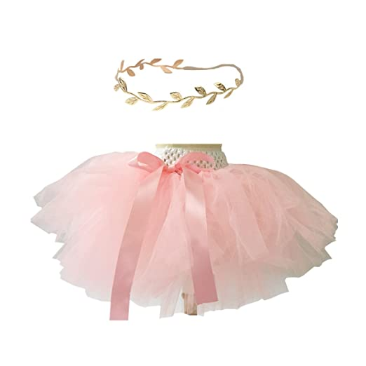 bf5996750 Amazon.com  Baby Girls Tutu Outfit Gold Headband Set 1st Birthday ...
