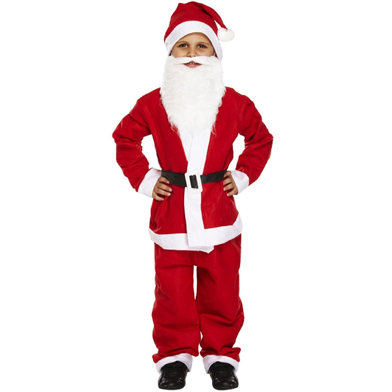 set Kids Christmas Santa Claus Costume Suit Child Xmas Fancy Dress Outfit 5Pcs