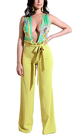 4b9a6afcdb0d8 Felicity Young Women's V Neck Sleeveless Chain Floral Print High Waist Wide  Leg Long Pants Jumpsuit