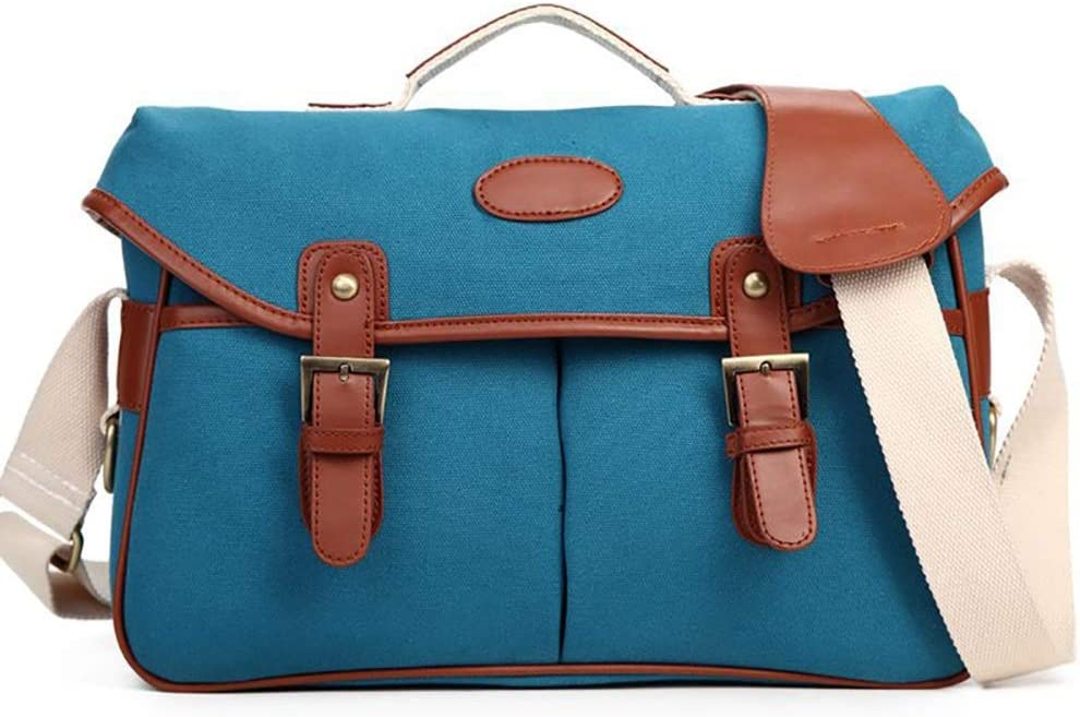 Color : Blue Lightweight Messenger Bag Canvas Photography Shoulder Camera Bag Vintage Fashion SLR Camera Bag Adjustable Shoulder Strap