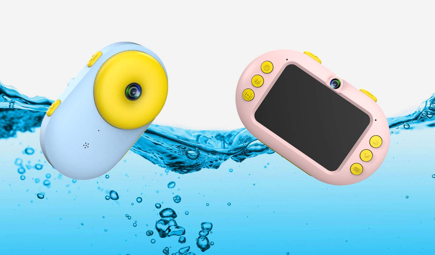 Waterproof Kids Camera, Magic Eye K8 Pink or Blue, Front and Rear Selfie HD Camera, Video and Filters, Underwater (Pink)