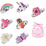 Adjustable Rings Set for Little Girls - Colorful Cute Unicorn, Butterfly Rings for Kids Made of Polymer Clay, Children's Jewelry Set
