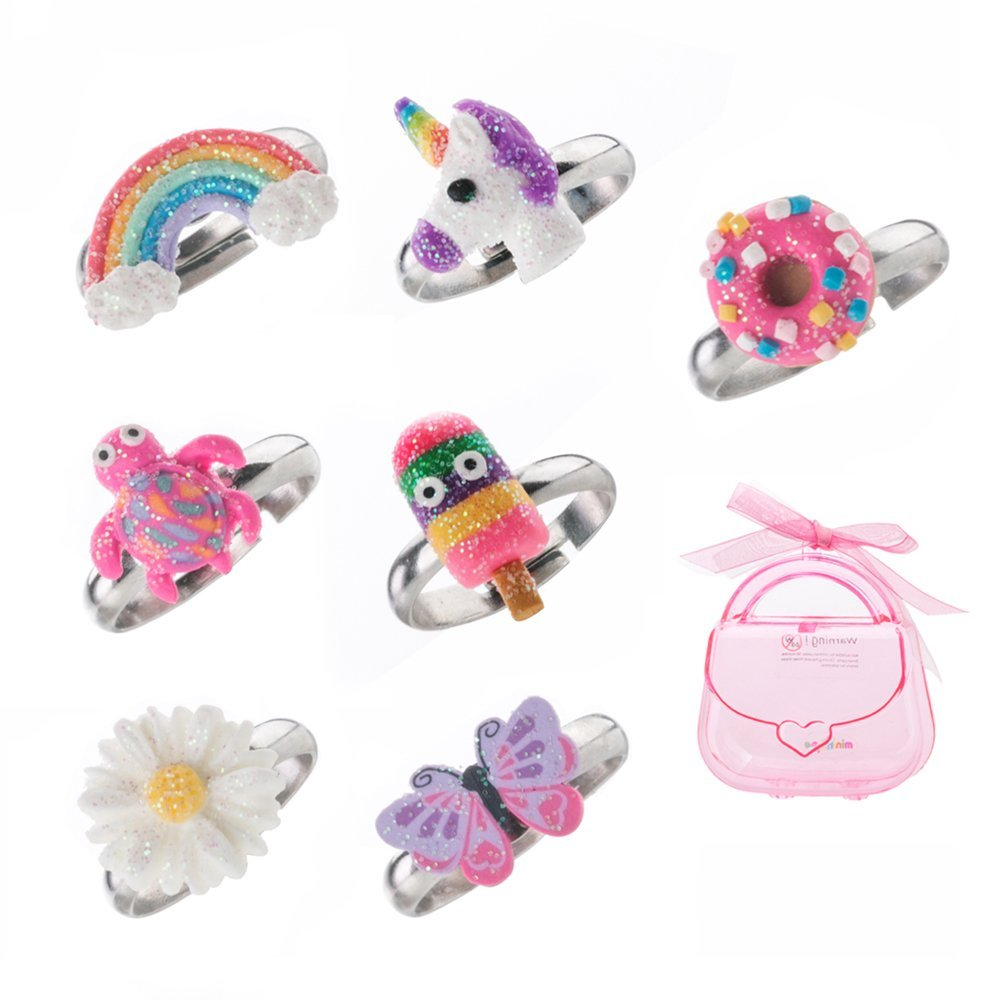 minihope Adjustable Rings Set for Little Girls - Colorful Cute Unicorn Butterfly Rings for Kids, Children's Jewelry Set of 7