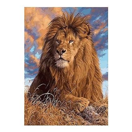 Amazon Com Diy Diamond Painting Lion Pattern Cross Stitch Diamond