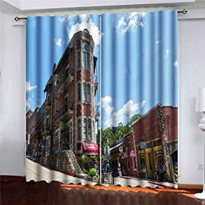 Musesh 52X84 Inch Curtains 2 Panels Window Curtains Large Window Curtains Springs June Look The Building in Springs June The as Iconic Symbol Old Historic Window Curtain Set for Bedroom Kitchen