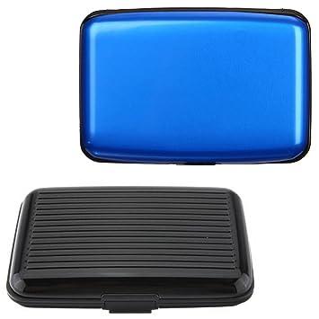 SENHAI - Funda de aluminio para tarjeta de bloqueo RFID (2 unidades), color negro y azul: Amazon.es: Oficina y papelería