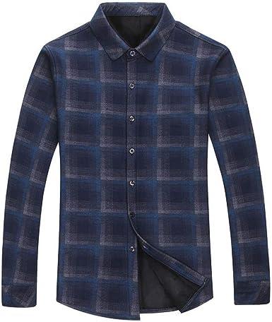 Camisa De Manga Larga para Hombres Más Camisa De Abrigo A Cuadros Casual Gruesa De Terciopelo: Amazon.es: Ropa y accesorios
