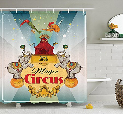 [Circus Decor Collection Magic Circus Tent Show Announcement Vintage Style Aerialist Acrobat Design Print Polyester Fabric Bathroom Shower Curtain Beige Red] (Circus Acrobat Costume Ideas)