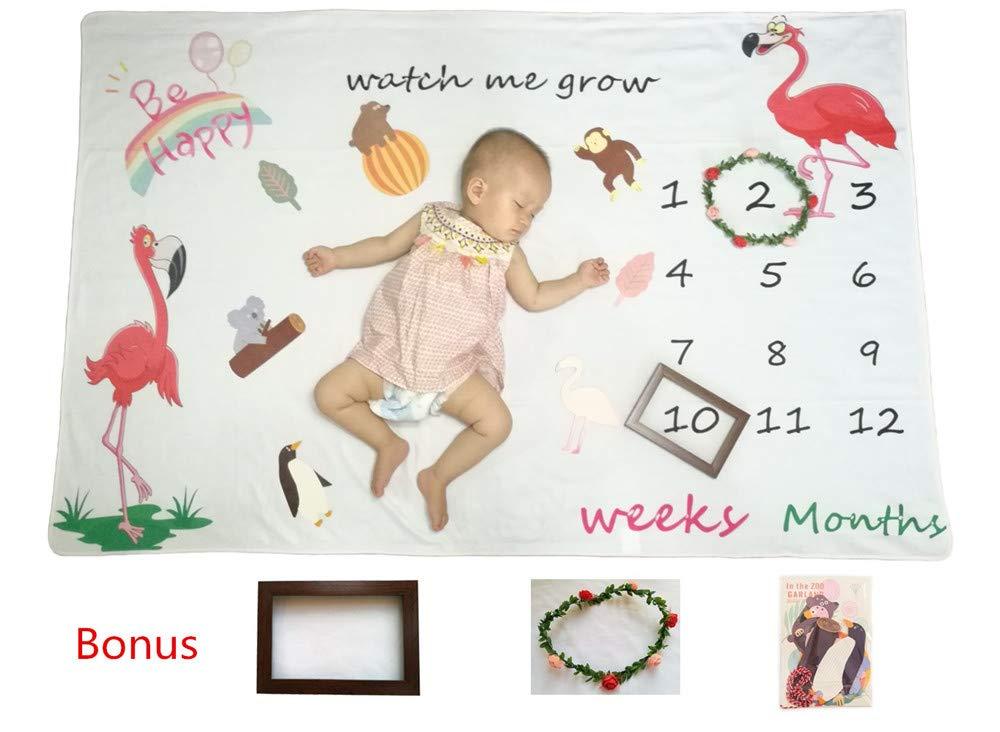 Monthly Milestone Blanket for Baby Girl Boy/Baby Shower Keepsake Gift/Soft &Large 60x40 Unique Flamingo Baby Photo Prop Swaddle Blanket/Bonus Wreath Frame, Wood Frame and Animal Zoo Prop