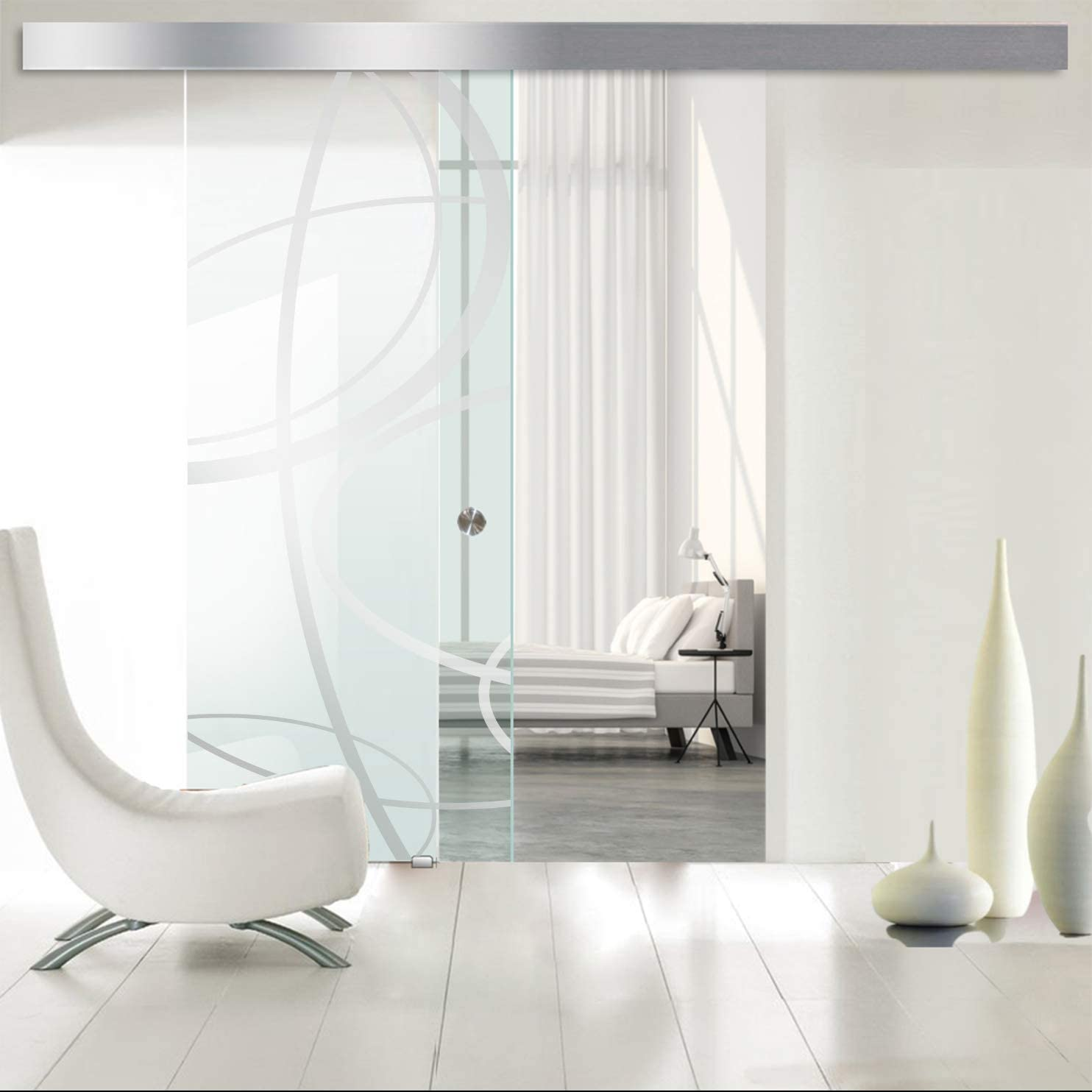 Modern Glass Art - Puerta de cristal deslizante para Boss de diseño interior - Cristal templado de seguridad de 8 mm de grosor, nano, revestido, accesorios de acero inoxidable SS304, transparente