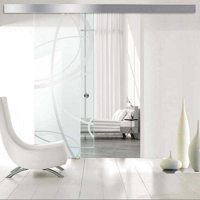 Modern Glass Art - Puerta de cristal deslizante para Boss de diseño interior - Cristal templado de seguridad de 8 mm de grosor, nano, revestido, accesorios de acero inoxidable SS304, transparente: Amazon.es: