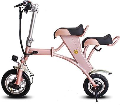 SSCJ Eléctrico Plegable Bicicleta Mini Adulto Scooter eléctrico portátil Ciudad Bicicleta Control Remoto antirrobo USB Carga de Dos Asientos: Amazon.es: Deportes y aire libre