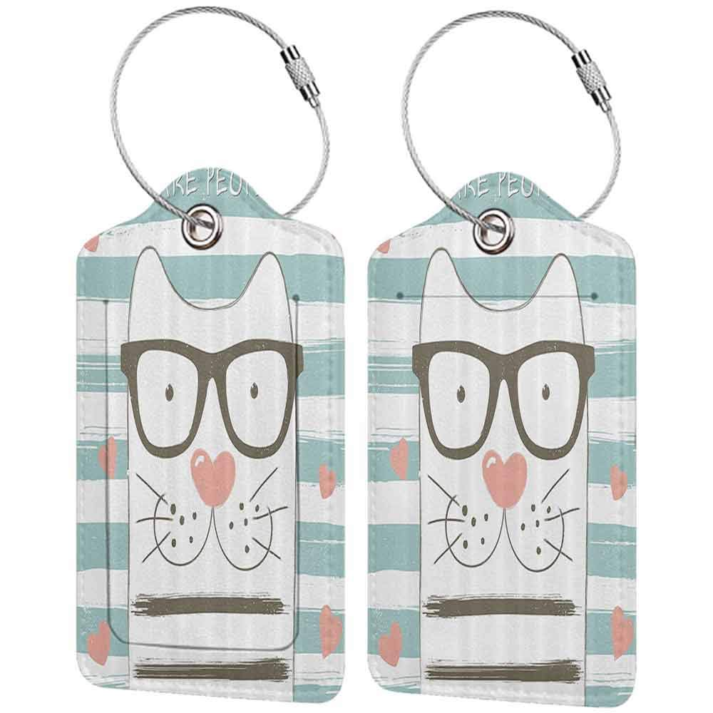 Durable luggage tag Animal Decor Hipster Cartoon Cat with Glasses Hearts and Stripes and Quotation Art Unisex White Blue and Pink W2.7 x L4.6