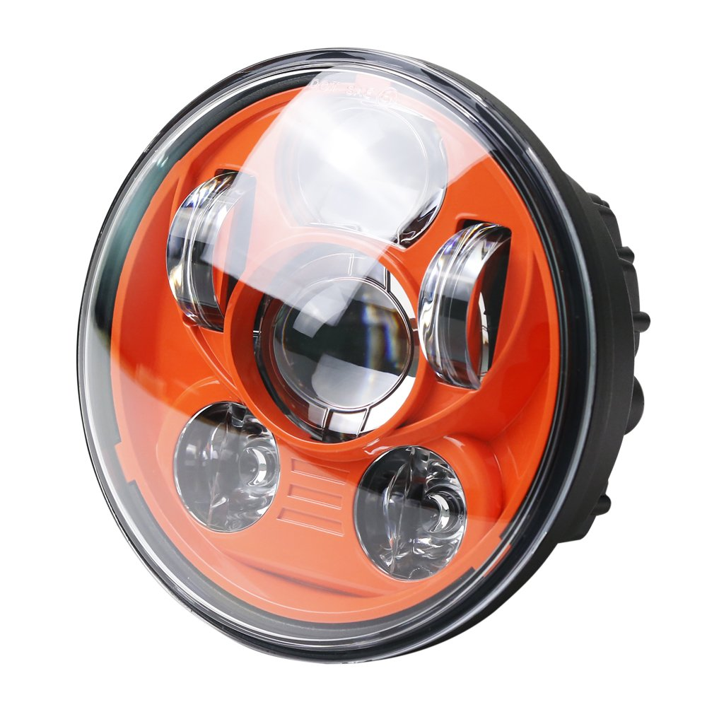 Motorcycle Headlight 5.75 Inch 5 3//4 Round LED Projection Headlight for Harley Davidson 883 Dyna Street Bob Sportster Wide Glide Low Rider Headlamp Orange