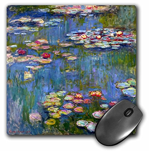 (3dRose LLC 8 x 8 x 0.25 Inches Mouse Pad, Water Lilies by Claude Monet Impressionism Impressionist Waterlilies On Pond Famous Fine Art (mp_155655_1) )