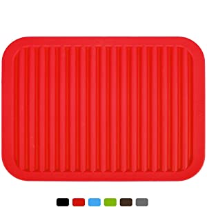"dealcase 9""x12"" Silicone Pot Holder, Trivet Mat, Waterproof, Heat Insulation Mat, Non-Slip, Tableware Pad Coasters, Large Silica Gel Kitchen mat,Food Grade Silicone,Hygienic Safety,Red"
