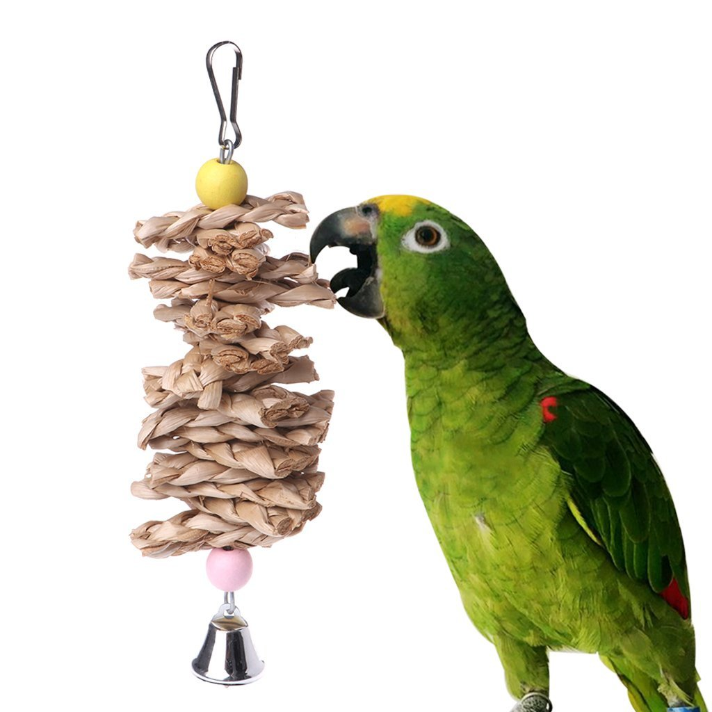 Parrot Bird Toys Natural Wooden Grass Chewing Bite Hanging Cage Bell Swing Climb Premium Quality by Yevison