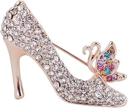 Hosaire Broche Epingle de élégant Femme Chaussures à talons hauts éclat Strass couleur Bijoux Fantaisie corsage et pin brooch de décoration pour