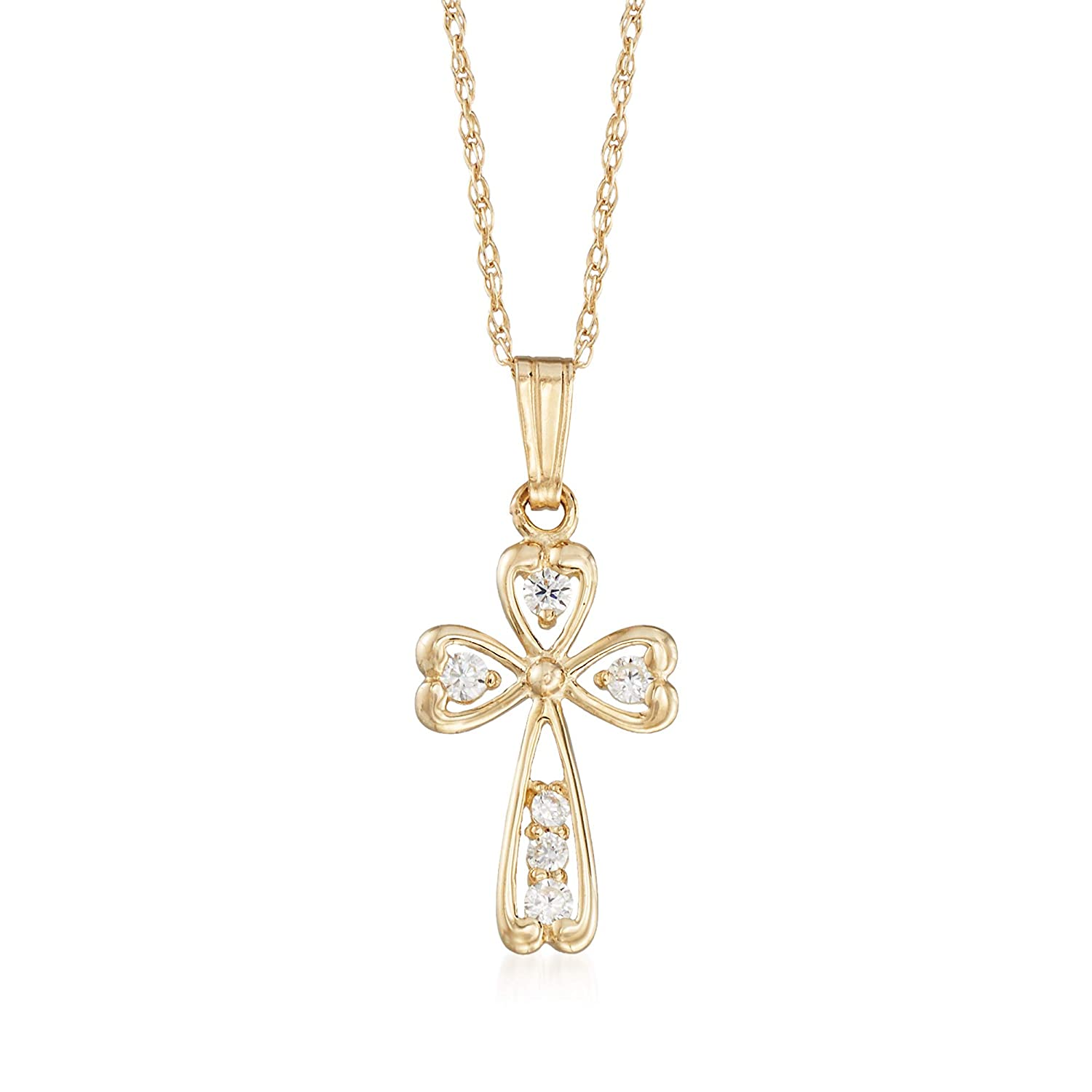 t.w CZ Cross Pendant Necklace in 14kt Yellow Gold Ross-Simons Childs .18 ct