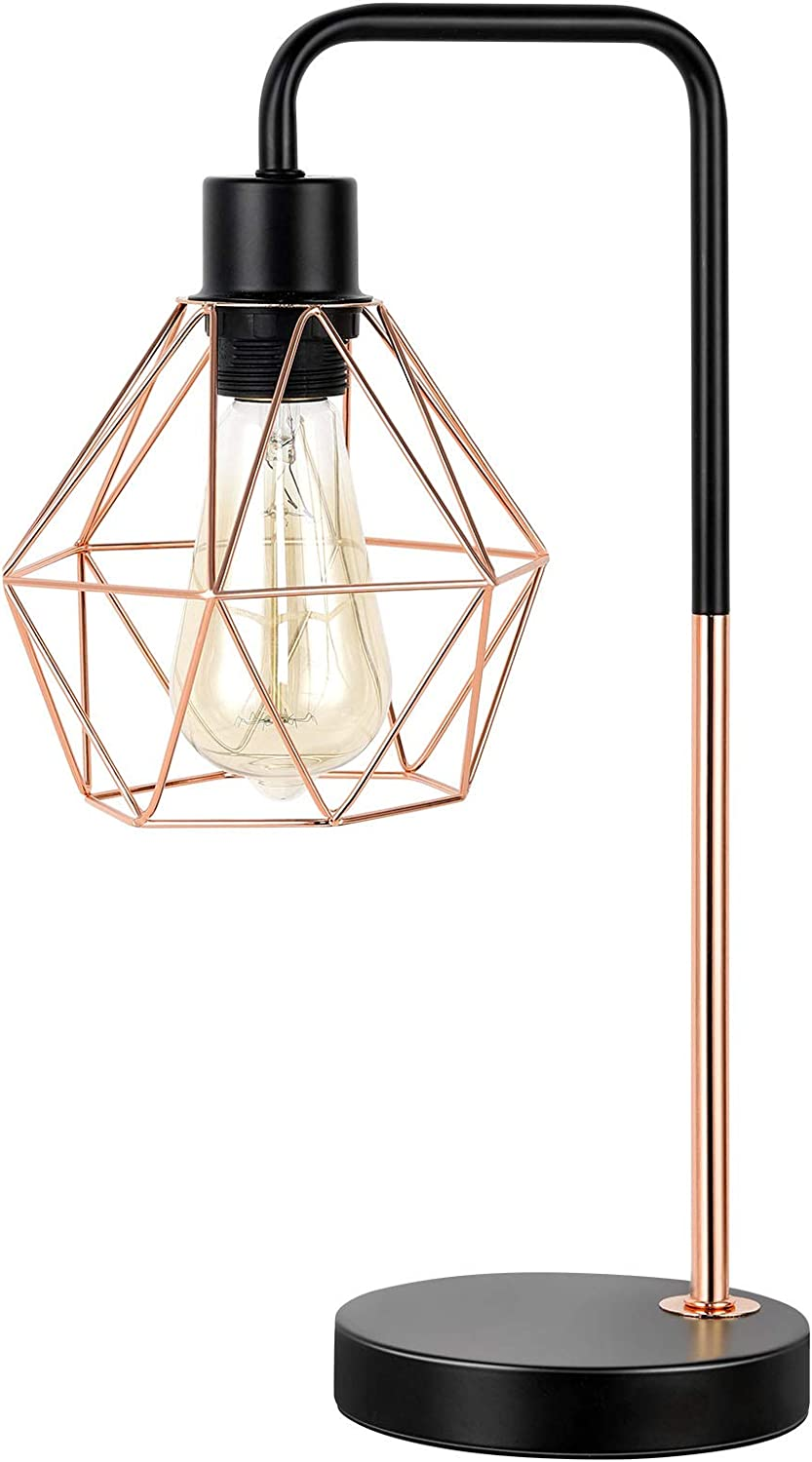 Modern Industrial Table Lamp, Delicate Design Desk Lamp with Metal Geometric Cage Shade, Bedside Lamp for Nightstand Home Decor, Reading Lamp Light Fixture for Office, Bedroom, Living Room, Rose Gold