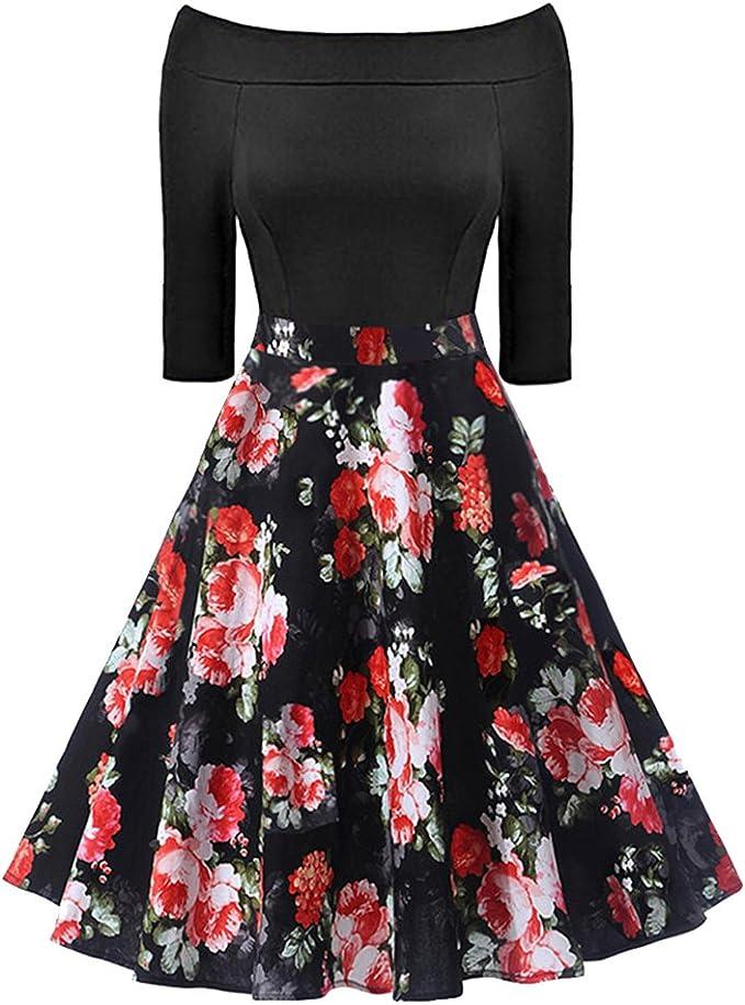 iBaste La Palabra Collar Vintage Vestidos Ajustado Mujer Impresión ...
