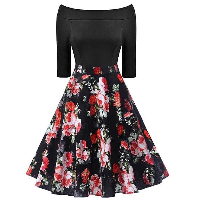 iBaste La Palabra Collar Vintage Vestidos Ajustado Mujer Impresión Flores Falda de Cóctel Manga 3/