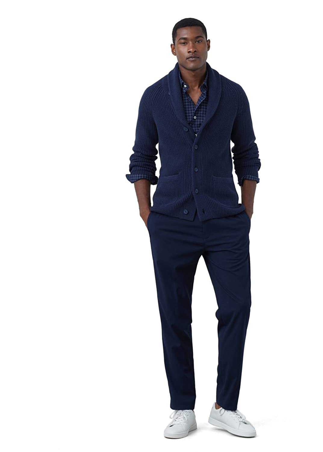MANGO MAN - Lapel cotton cardigan - Size:XL - Color:Navy