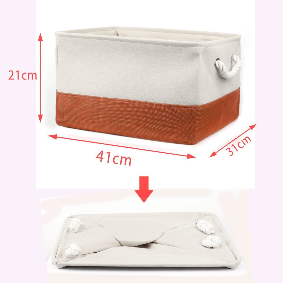 DealMux Foldable Fabric Dual Handles Storage Bin Basket Toy Clothes Towel Laundry Box Container Organizer (Orange, L),Mother's Day Gift for Mom