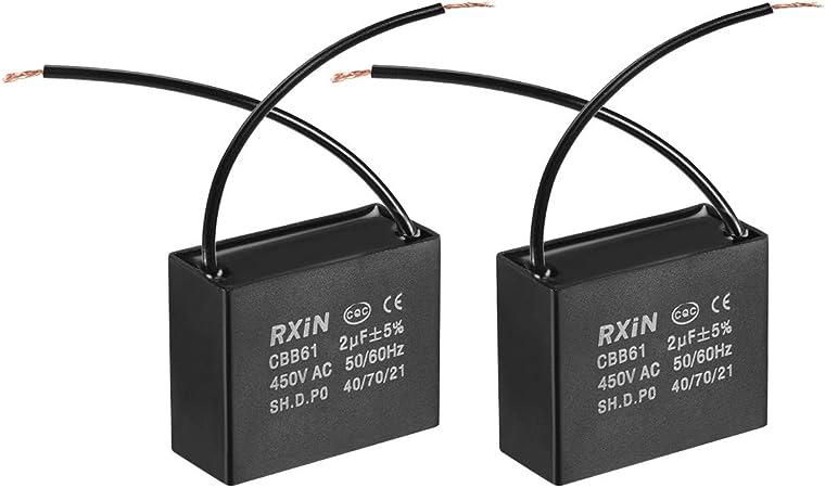 sourcing map CBB61 Run Capacitor 450V AC 1.5uF 2 Cables Capacitores de película de Polipropileno Metalizado para Ventilador de Techo 2pcs: Amazon.es: Coche y moto