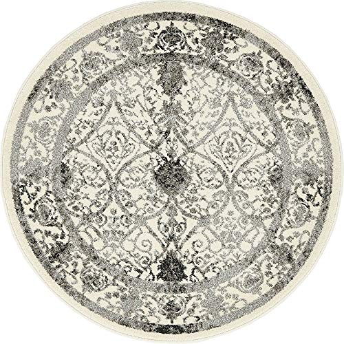 Unique Loom La Jolla Collection Tone-on-Tone Traditional Ivory Round Rug (3' 3 x 3' 3)
