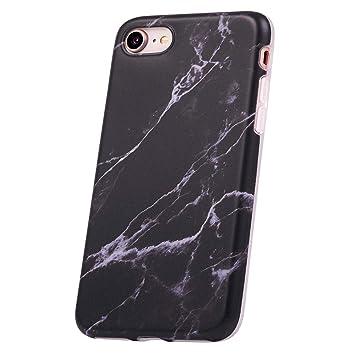QULT Carcasa para Móvil Compatible con iPhone 8 iPhone 7 Funda marmol Negro Silicona Flexible Bumper Teléfono Caso para iPhone 7/8 Marble Black