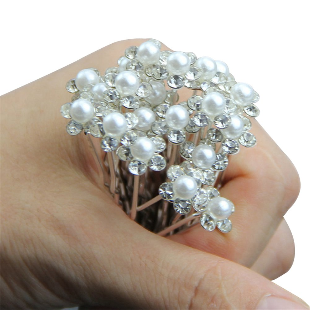 Wedding accessories pearls flowers pearls - Amazon Com Dxhycc 20pcs Bridal Hair Pins Pearl Flower Crystal Wedding Hair Clips Hair Accessories Beauty