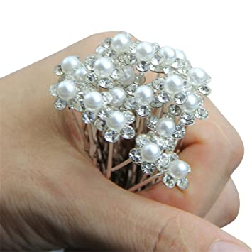 dxhycc 20pcs bridal hair pins pearl flower crystal wedding hair clips hair accessories
