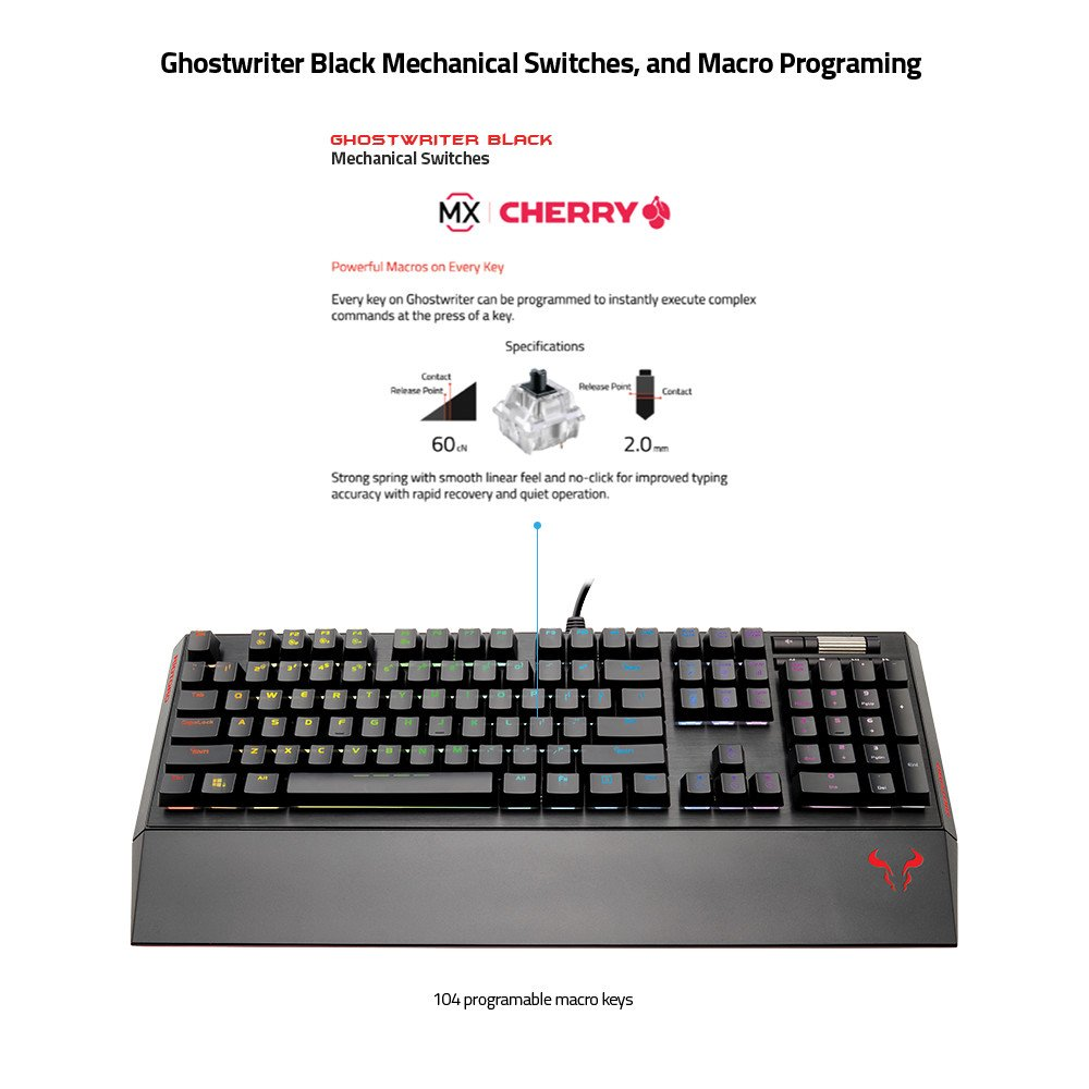 RIOTORO Ghostwriter Cherry MX Black Mechanical Keyboard with Customizable  Prism RGB, 1ms Response Time, NKRO, and Dual USB Ports  Includes 2 Magnetic