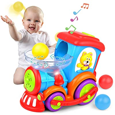 Kidpal Baby Toy, Ball Popping Musical Toy Train for Boy Girl Age 1 2 3 with Light, Music, Chase and 3 Popper Balls, Educational Baby Car Learning Toy for 1 2 3 Year Old, Development Toy Train for Kids: Toys & Games