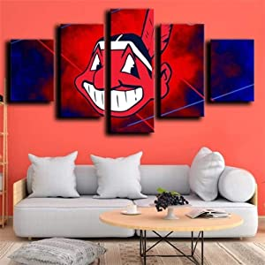 SDFFD Wall Art 5 Pieces Pictures Prints On Canvas Wall Art Paintings Artwork Modern Pictures Home Wall Decor Prints Creative Gift Cleveland Indians Red and Blue