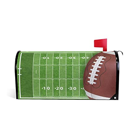 Wamika American Football Field Mailbox Cover Magnetic Oversized, Sport Soccor Ball Letter Post Box Cover