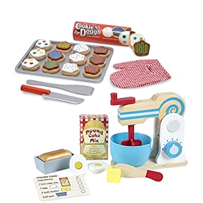 Melissa & Doug Bundle Includes 2 Items Wooden Make-a-Cake Mixer Set (11 pcs) - Play Food and Kitchen Accessories Slice and Bake Wooden Cookie Play Food Set: Toys & Games