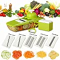 Mandoline Slicer Plus Peeler & eBook, Potato Slicer, Cheese Slicer, Professional Kitchen Slicing Tool with 5 Stainless Steel Blades, Julienne Vegetable Slicer, Food Container, Hand Guard