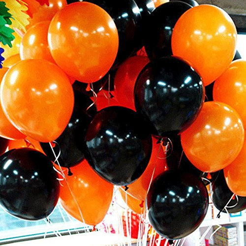 Black Halloween Balloon - Latex balloons 12-inch Black and Orange 100PCS for Halloween Party Birthday Event Decorations