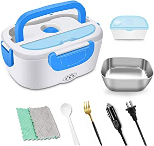 Portable Heating Electric Lunch Box 2 in 1 Food Heater Warmer Bento Box 1.5L 110v & 12v 40w For Car and Home Office With Removable 304 Food-Grade Stainless Steel Storage Container,Stainless Steel Fork