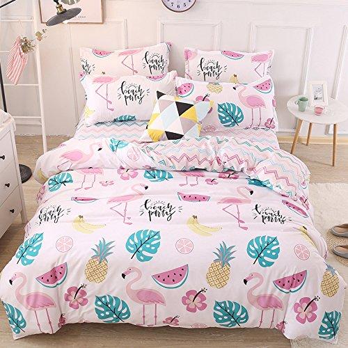 "Top KFZ Bed SET (Twin Full Queen King size) [4 piece: duvet cover, Flat sheet, 2 pillow cases] No comforter KSN Fruit Banana Forest Moon design for Kids Sheet Sets (Fruit Party, Multi, Queen, 78""x91"")"